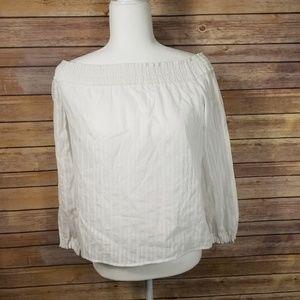Rag and Bone White shoulder smocked blouse sz S